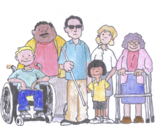 A collection of people with different disabilities from different races