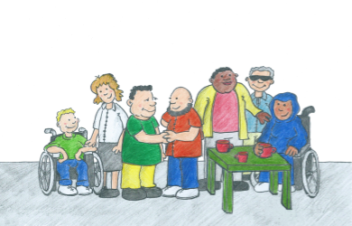 A meeting of people with different disabilities from all walks of life