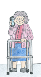 Drawing off a lady Senior citizen on phone with zimmer frame