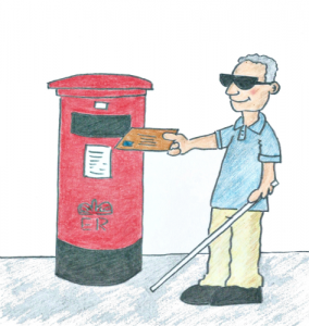 Man with sunglasses and a walking stick posting a letter into a postbox