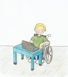 Drawing of a young man looking at a laptop on a desk