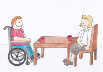A young man in a wheelchair sitting at a table, with a young smarltly dressed lady both drinking coffee.